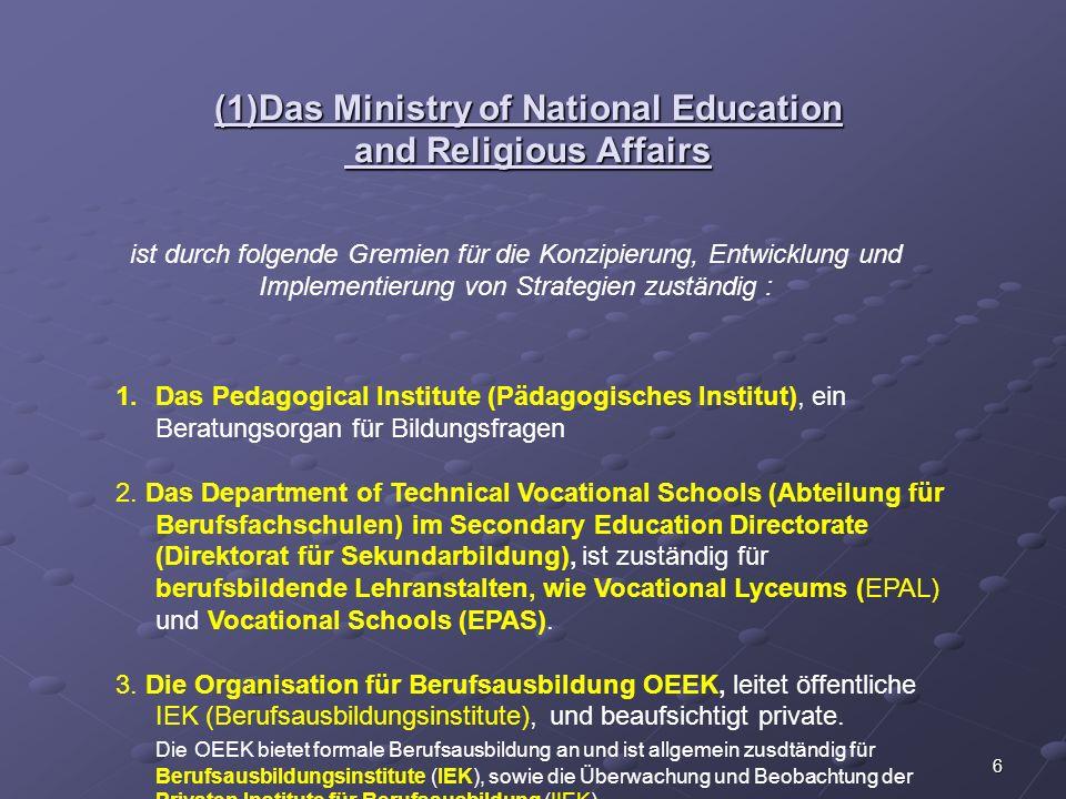 6 (1)Das Ministry of National Education and Religious Affairs ist durch folgende Gremien für die Konzipierung, Entwicklung und Implementierung von Str