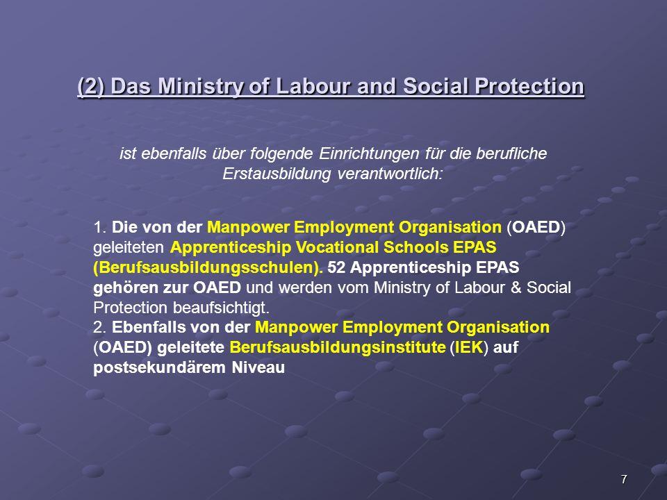 7 (2) Das Ministry of Labour and Social Protection ist ebenfalls über folgende Einrichtungen für die berufliche Erstausbildung verantwortlich: 1. Die