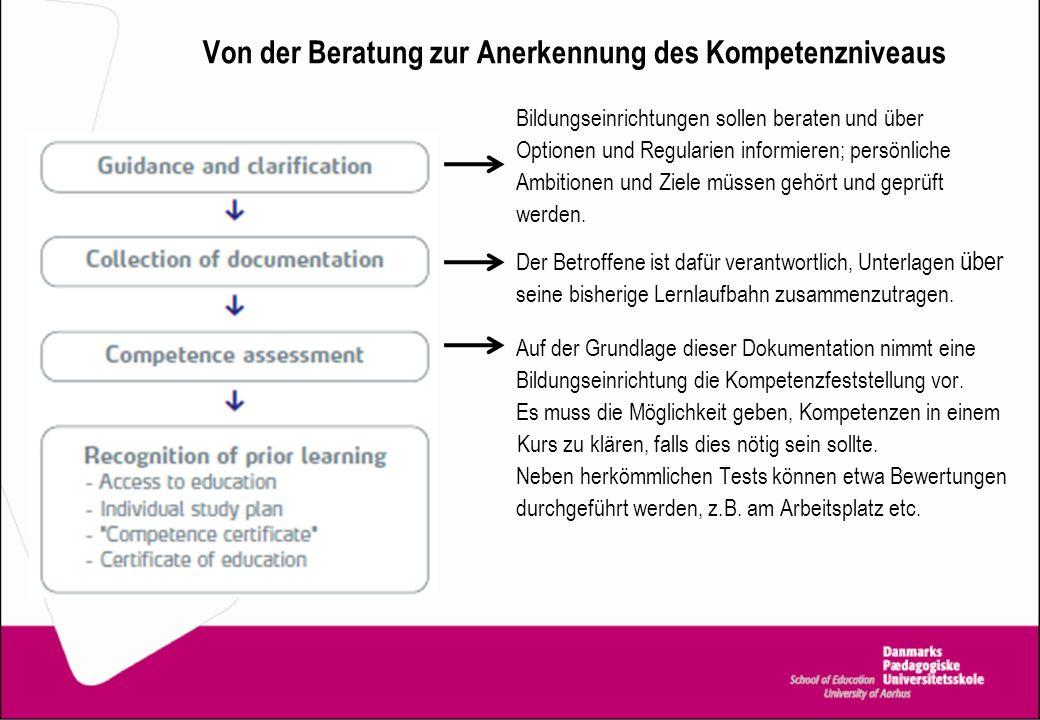 Von der Beratung zur Anerkennung des Kompetenzniveaus Bildungseinrichtungen sollen beraten und über Optionen und Regularien informieren; persönliche A