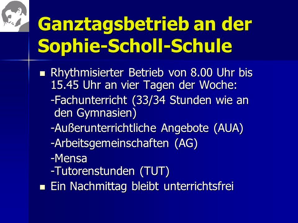 Ganztagsbetrieb an der Sophie-Scholl-Schule Rhythmisierter Betrieb von 8.00 Uhr bis 15.45 Uhr an vier Tagen der Woche: Rhythmisierter Betrieb von 8.00