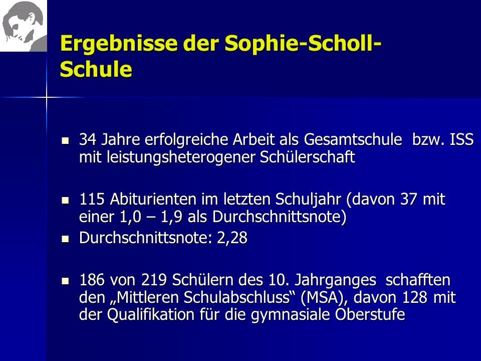 Ergebnisse der Sophie-Scholl- Schule 34 Jahre erfolgreiche Arbeit als Gesamtschule bzw. ISS mit leistungsheterogener Schülerschaft 34 Jahre erfolgreic