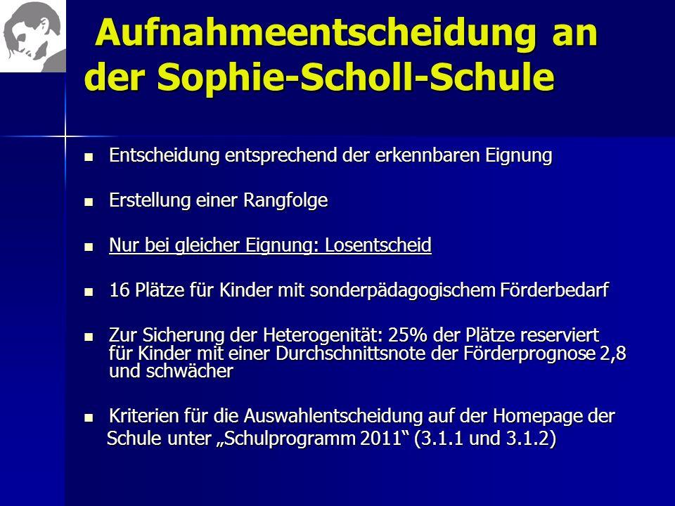Aufnahmeentscheidung an der Sophie-Scholl-Schule Aufnahmeentscheidung an der Sophie-Scholl-Schule Entscheidung entsprechend der erkennbaren Eignung En
