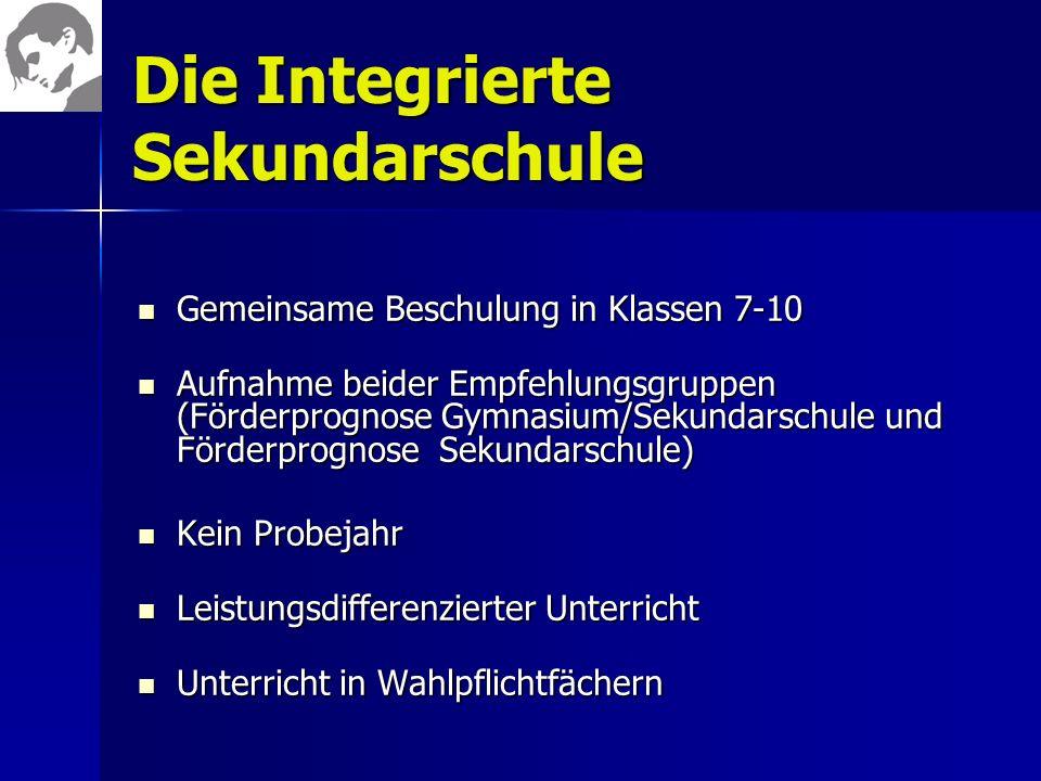 Die Integrierte Sekundarschule Gemeinsame Beschulung in Klassen 7-10 Gemeinsame Beschulung in Klassen 7-10 Aufnahme beider Empfehlungsgruppen (Förderp