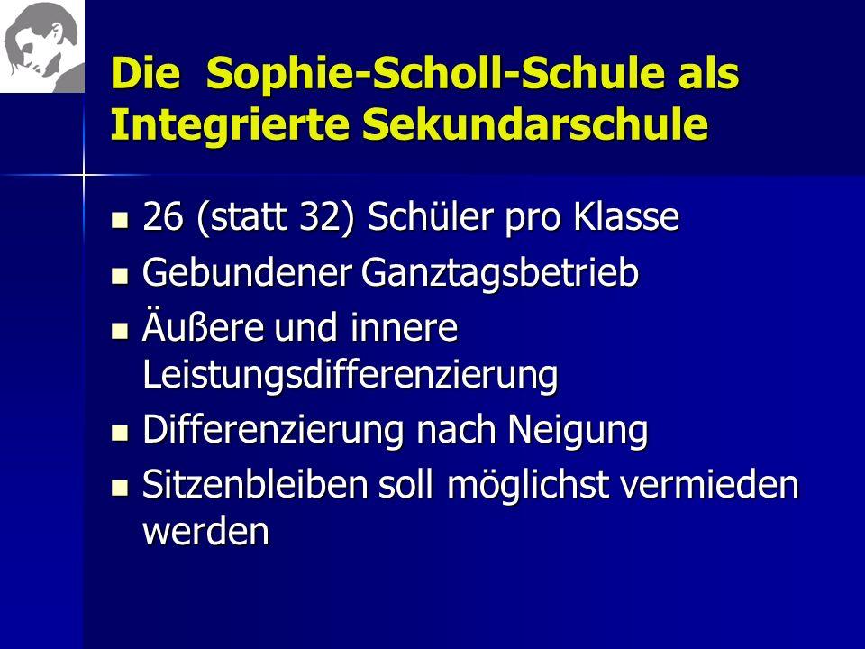 Die Sophie-Scholl-Schule als Integrierte Sekundarschule 26 (statt 32) Schüler pro Klasse 26 (statt 32) Schüler pro Klasse Gebundener Ganztagsbetrieb G