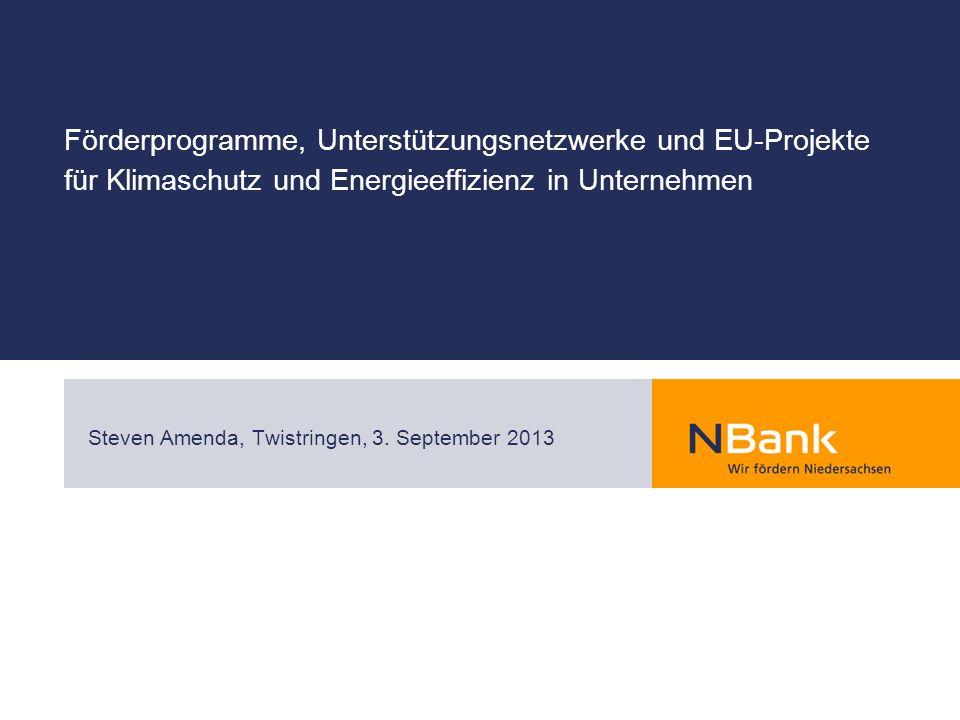 Förderprogramme, Unterstützungsnetzwerke und EU-Projekte für Klimaschutz und Energieeffizienz in Unternehmen Steven Amenda, Twistringen, 3.