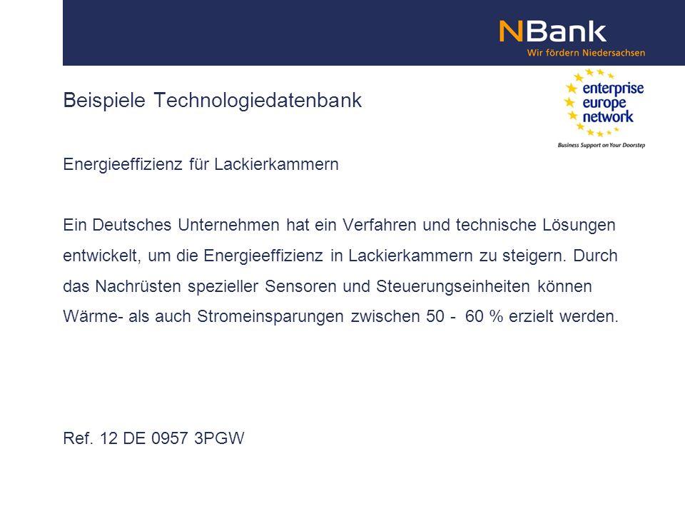 Beispiele Technologiedatenbank Energieeffizienz für Lackierkammern Ein Deutsches Unternehmen hat ein Verfahren und technische Lösungen entwickelt, um die Energieeffizienz in Lackierkammern zu steigern.