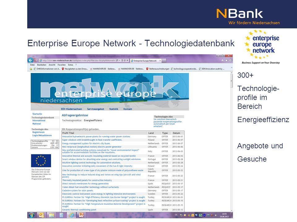 Enterprise Europe Network - Technologiedatenbank 300+ Technologie- profile im Bereich Energieeffizienz Angebote und Gesuche