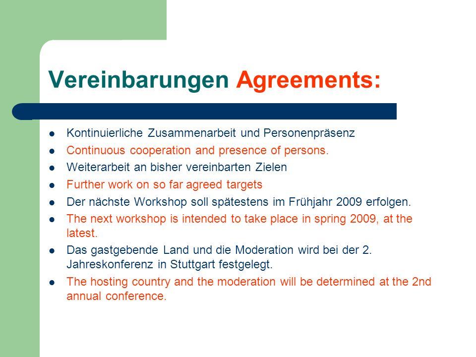 Vereinbarungen Agreements: Kontinuierliche Zusammenarbeit und Personenpräsenz Continuous cooperation and presence of persons. Weiterarbeit an bisher v