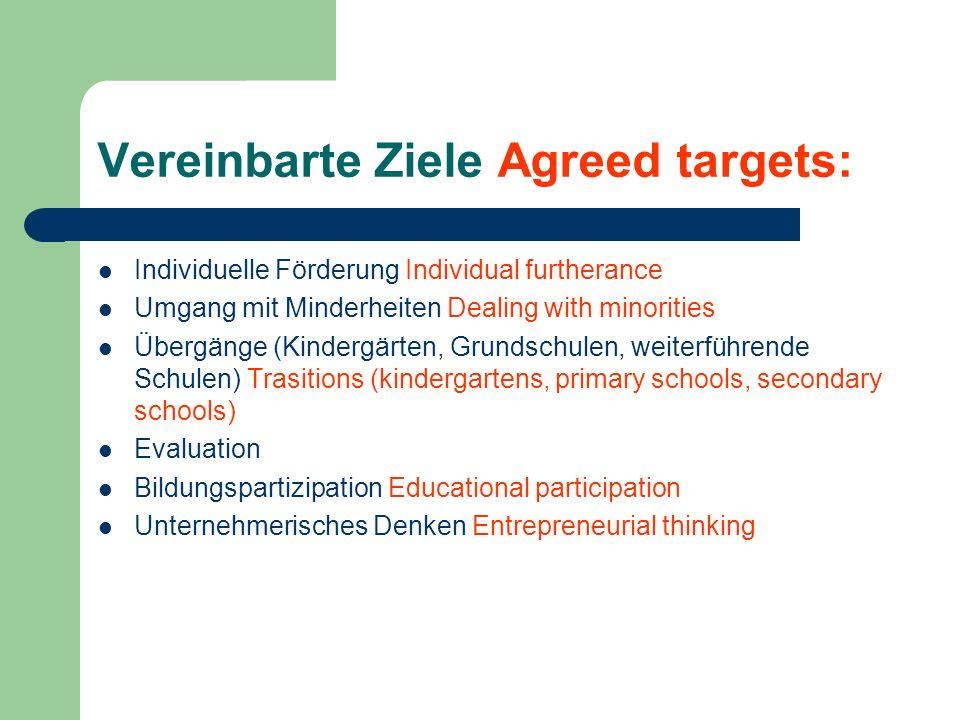 Vereinbarte Ziele Agreed targets: Individuelle Förderung Individual furtherance Umgang mit Minderheiten Dealing with minorities Übergänge (Kindergärte