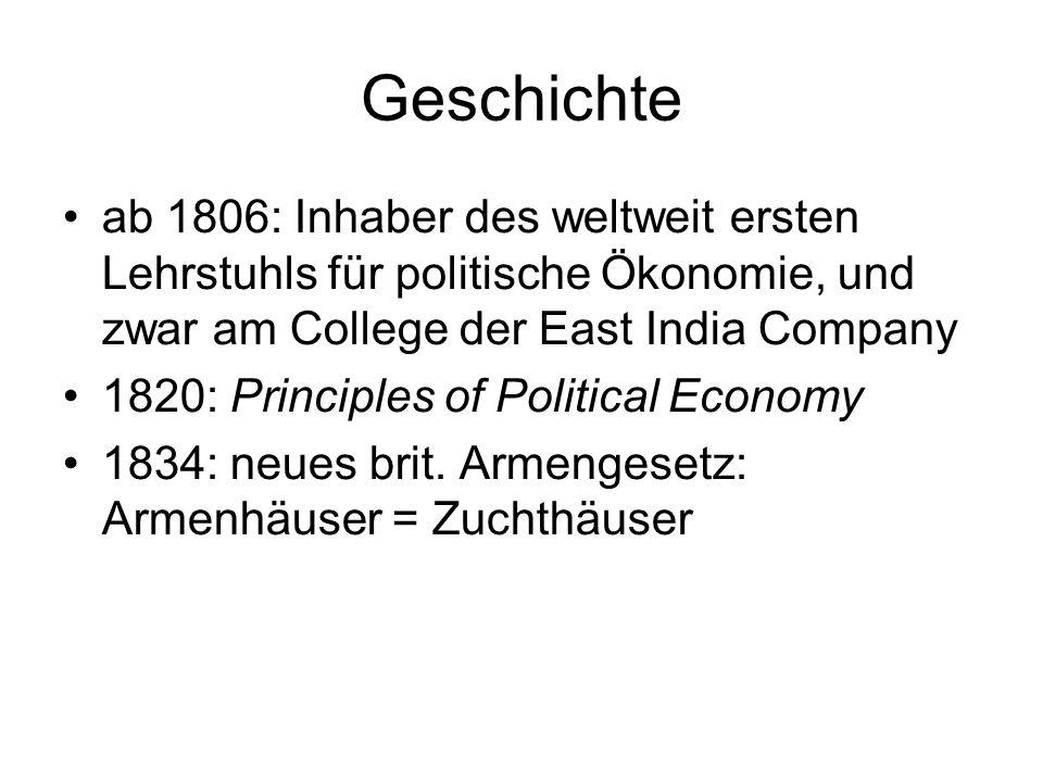 Geschichte ab 1806: Inhaber des weltweit ersten Lehrstuhls für politische Ökonomie, und zwar am College der East India Company 1820: Principles of Pol