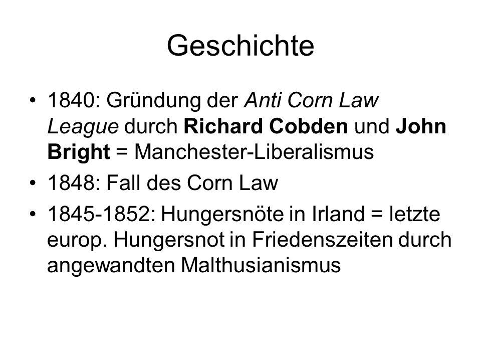 Geschichte 1840: Gründung der Anti Corn Law League durch Richard Cobden und John Bright = Manchester-Liberalismus 1848: Fall des Corn Law 1845-1852: H