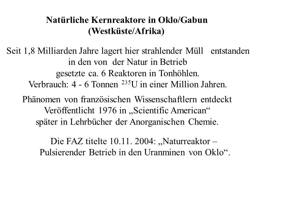 Kernkraftwerke (KKW) in Deutschland Leichtwasserreaktoren Druckwasserreaktor (DWR) Siedewasserreaktor (SWR) Moderator und Kühlmittel Wasser Kernbrennstoff 1) UO 2 (3% 235 U) Füllrohre Zirkon 2), d=1cm (innen) Länge 4,83m 4,17m Brennelement, Bremsstäbe 200 BE x 240 BS = 48.000 BS; 800 BE x 60 BS = 48.000 BS Steuerstäbe 60 aus Cadmium B-, Li- Salze 200 aus Borcarbid Kühlwasser: Eingang 291 °C/ 160 bar 215 °C/ 70 bar Ausgang 326 °C/ 160 bar 3) 286 °C/ 70 bar Kühlkreislauf 2 1 Wirkungsgrad 34% 33% Leistungsdichte 100 MW/ m 3 50 MW/ m 3 Gesamtleistung 3800 MW 3800 MW Volumen des Kerns 38 m 3 76 m 3 1) UO 2 hat einen geringern Ausdehnungskoeffizienten als Uran und ist nur kubisch konfiguriert.