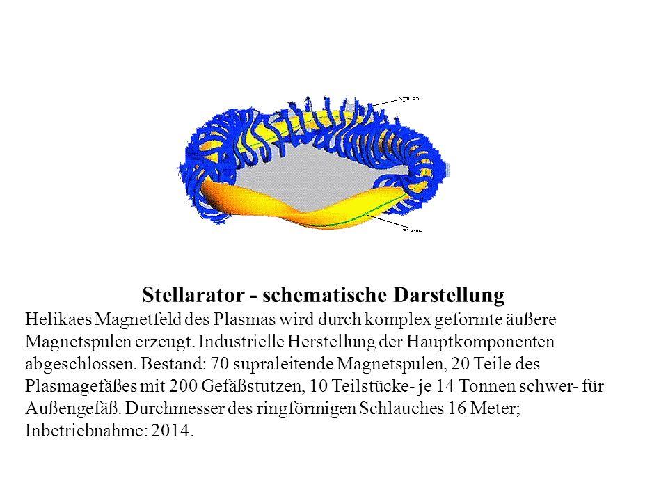Stellarator - schematische Darstellung Helikaes Magnetfeld des Plasmas wird durch komplex geformte äußere Magnetspulen erzeugt. Industrielle Herstellu
