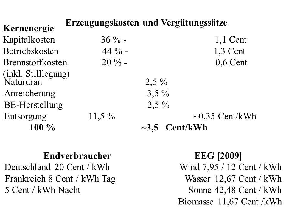 Kostenvergleich: Wind-, Solar-, Kohle- und Kernkraftanlagen Leistung 1) (MW) Verfügbarkeit (h/a) Stromerzeugung (kWh/a) Kosten () WKA 2) 60 ca.3800 22810 6 25010 6 SKA 3) 53 ca.