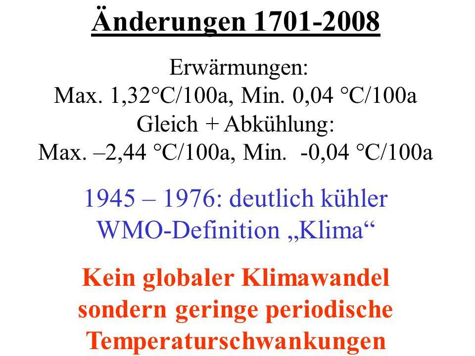 Änderungen 1701-2008 Erwärmungen: Max. 1,32°C/100a, Min. 0,04 °C/100a Gleich + Abkühlung: Max. –2,44 °C/100a, Min. -0,04 °C/100a 1945 – 1976: deutlich