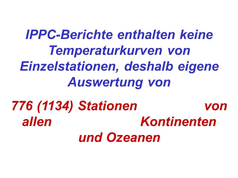 IPPC-Berichte enthalten keine Temperaturkurven von Einzelstationen, deshalb eigene Auswertung von 776 (1134) Stationen von allen Kontinenten und Ozean