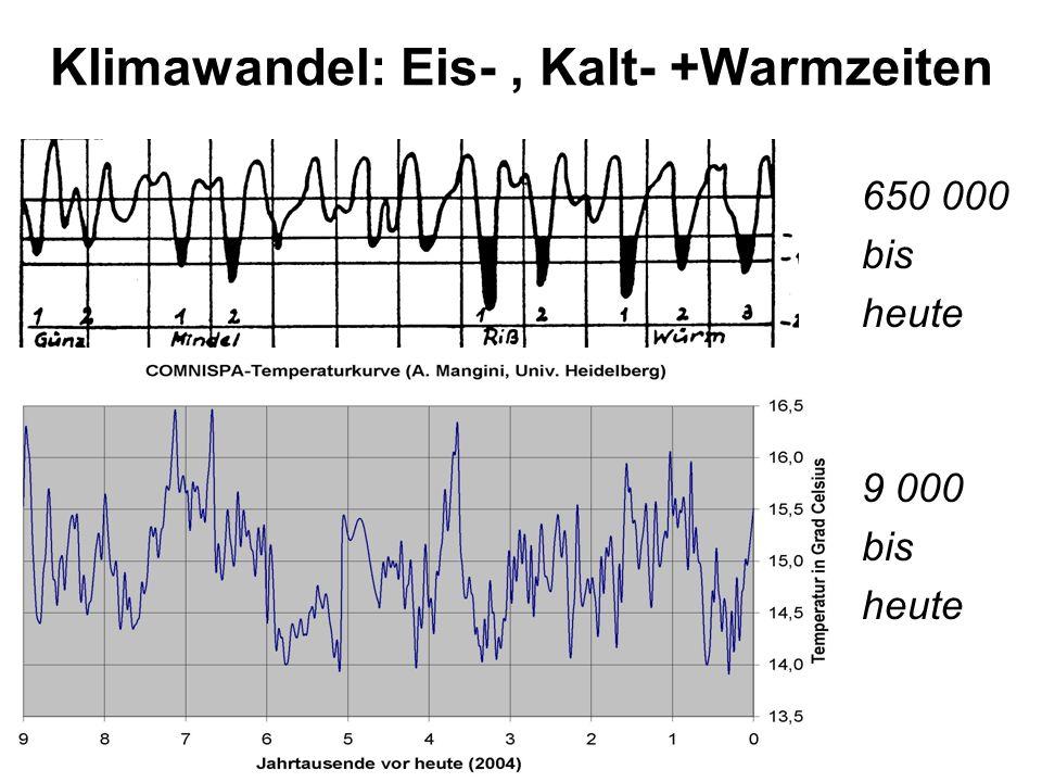Klimawandel: Eis-, Kalt- +Warmzeiten 650 000 bis heute 9 000 bis heute