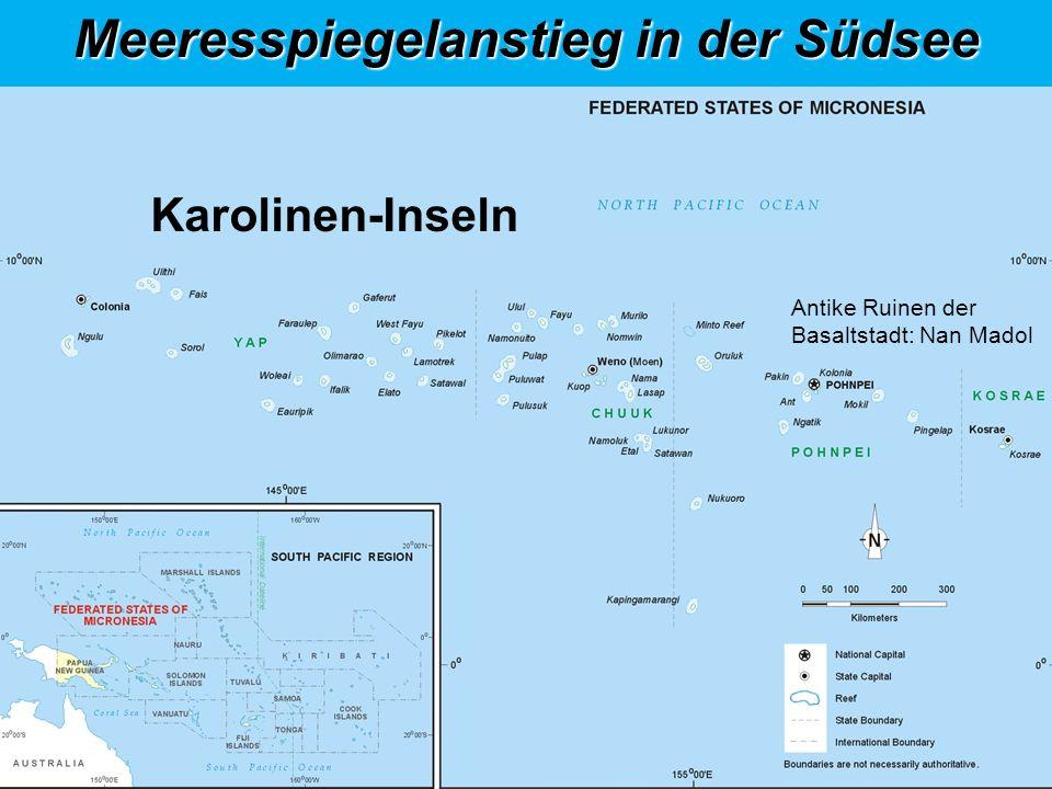 Historische Basaltstadt: Nan Madol Karolinen-Inseln Antike Ruinen der Basaltstadt: Nan Madol Meeresspiegelanstieg in der Südsee