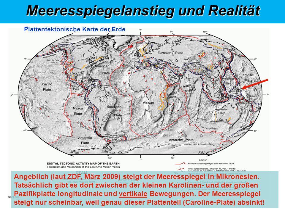 Klimasystem, abstrakt Meeresspiegelanstieg und Realität 1 2 3 4 4 3 2 1 5 Angeblich (laut ZDF, März 2009) steigt der Meeresspiegel in Mikronesien.