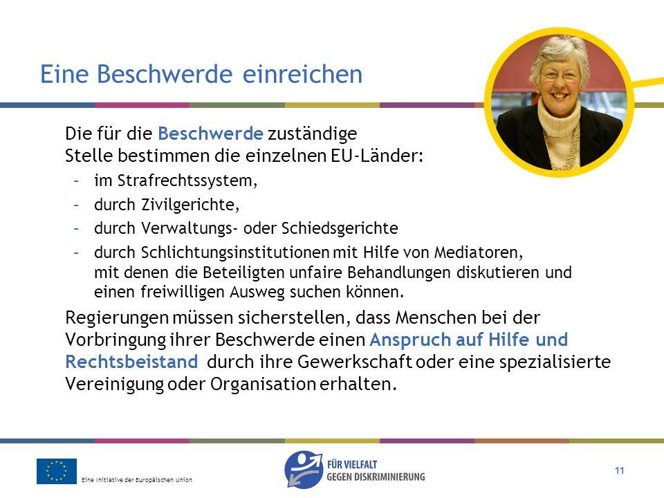 Eine Initiative der Europäischen Union 11 Eine Beschwerde einreichen Die für die Beschwerde zuständige Stelle bestimmen die einzelnen EU-Länder: –im S
