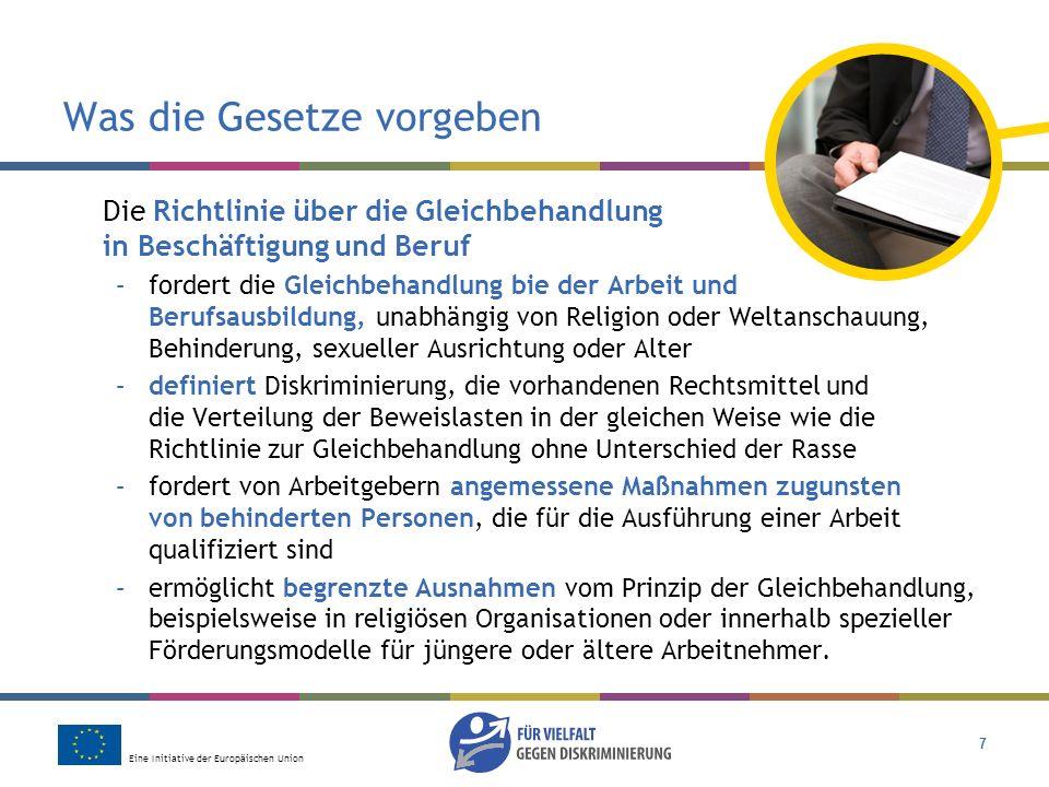 Eine Initiative der Europäischen Union 7 Was die Gesetze vorgeben Die Richtlinie über die Gleichbehandlung in Beschäftigung und Beruf –fordert die Gle