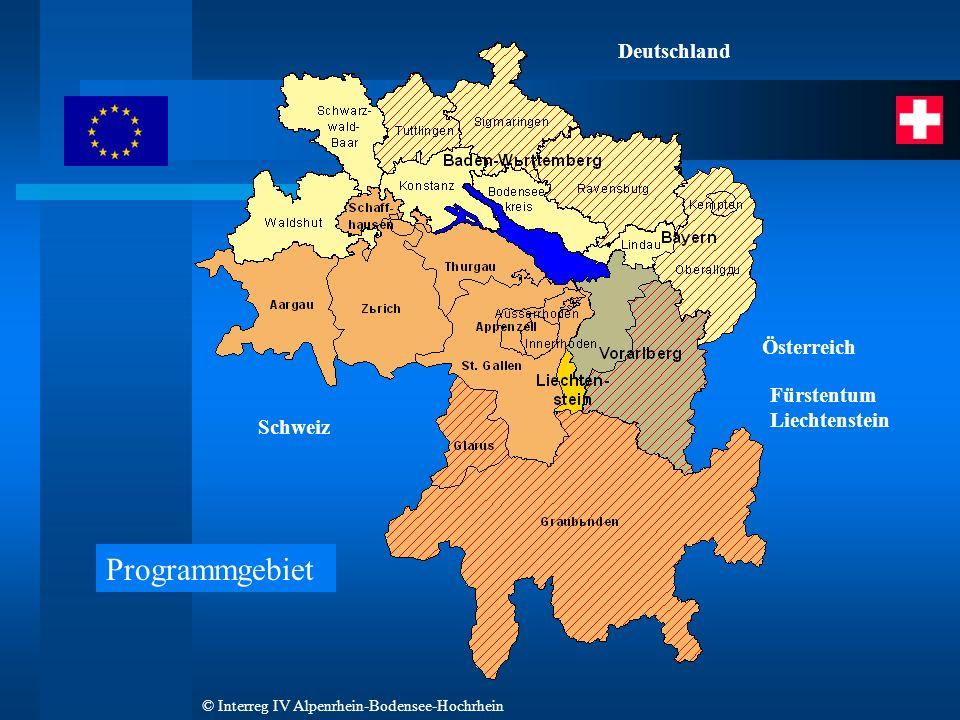 © Interreg IV Alpenrhein-Bodensee-Hochrhein Schweiz Österreich Fürstentum Liechtenstein Deutschland Programmgebiet