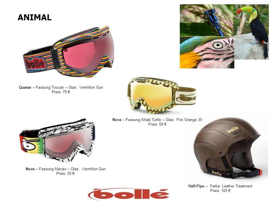 ANIMAL Quasar – Fassung Toucan – Glas: Vermillon Gun Preis: 79 Nova – Fassung Macaw – Glas: Vermillon Gun Preis: 55 Nova – Fassung Khaki Turtle – Glas