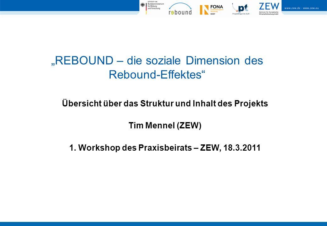 REBOUND – die soziale Dimension des Rebound-Effektes Übersicht über das Struktur und Inhalt des Projekts Tim Mennel (ZEW) 1. Workshop des Praxisbeirat