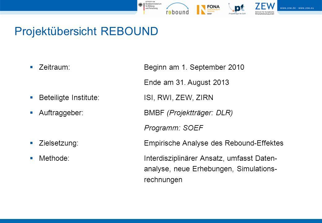 Projektübersicht REBOUND Zeitraum:Beginn am 1. September 2010 Ende am 31. August 2013 Beteiligte Institute:ISI, RWI, ZEW, ZIRN Auftraggeber:BMBF (Proj