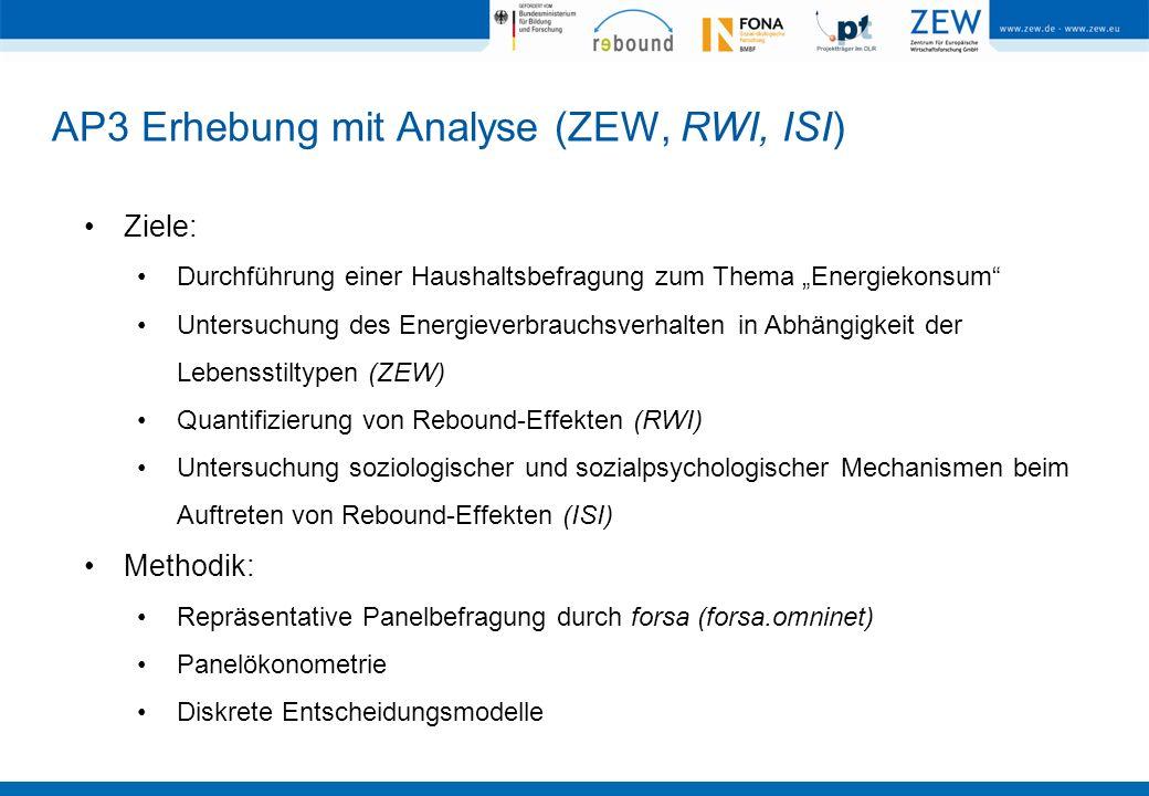 AP3 Erhebung mit Analyse (ZEW, RWI, ISI) Ziele: Durchführung einer Haushaltsbefragung zum Thema Energiekonsum Untersuchung des Energieverbrauchsverhal