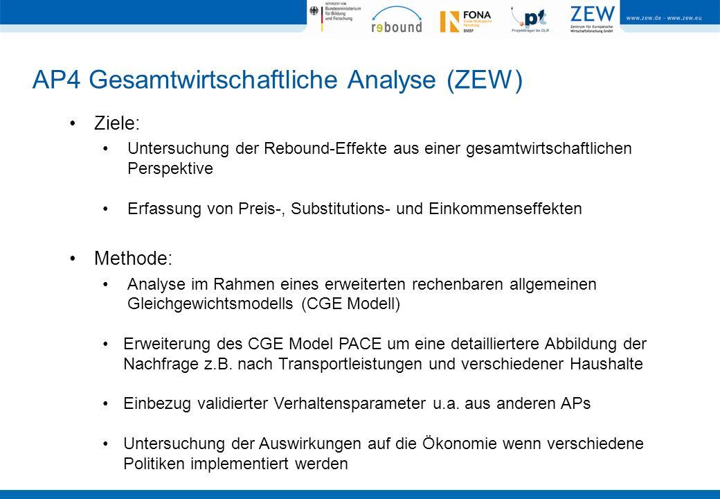AP4 Gesamtwirtschaftliche Analyse (ZEW) Ziele: Untersuchung der Rebound-Effekte aus einer gesamtwirtschaftlichen Perspektive Erfassung von Preis-, Sub