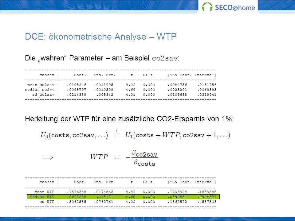 DCE: ökonometrische Analyse – WTP Die wahren Parameter – am Beispiel co2sav : ------------------------------------------------------------------------