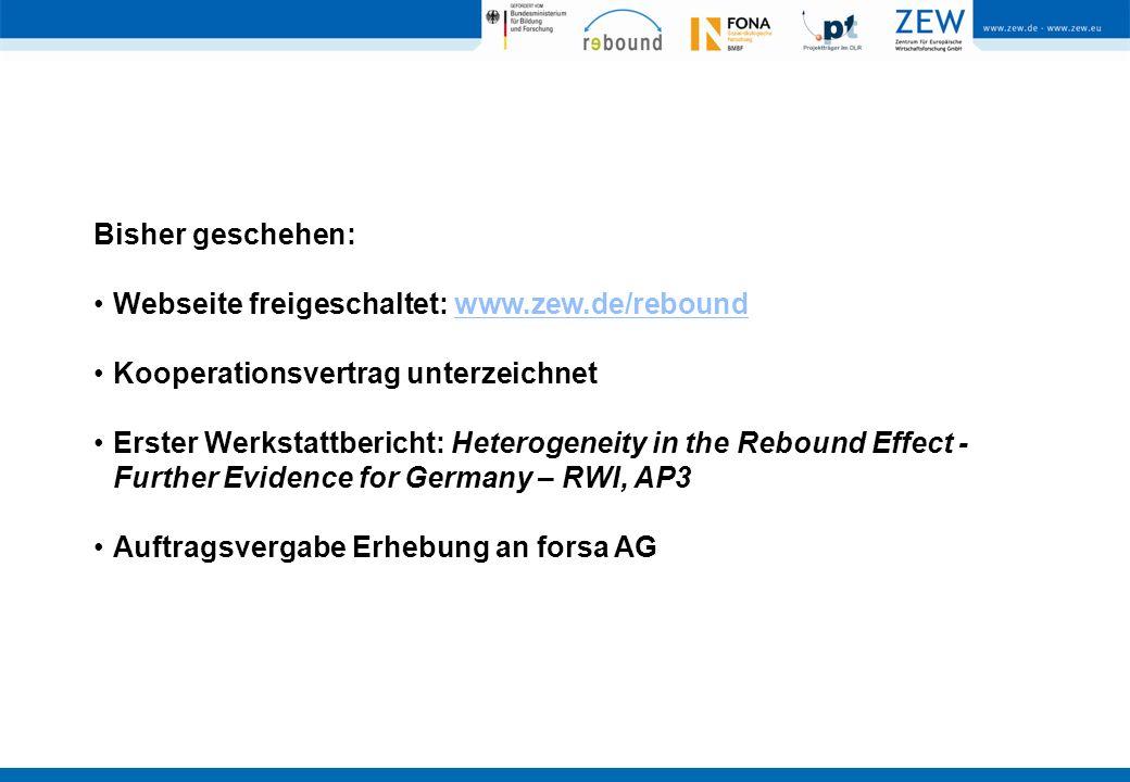 Bisher geschehen: Webseite freigeschaltet: www.zew.de/reboundwww.zew.de/rebound Kooperationsvertrag unterzeichnet Erster Werkstattbericht: Heterogeneity in the Rebound Effect - Further Evidence for Germany – RWI, AP3 Auftragsvergabe Erhebung an forsa AG