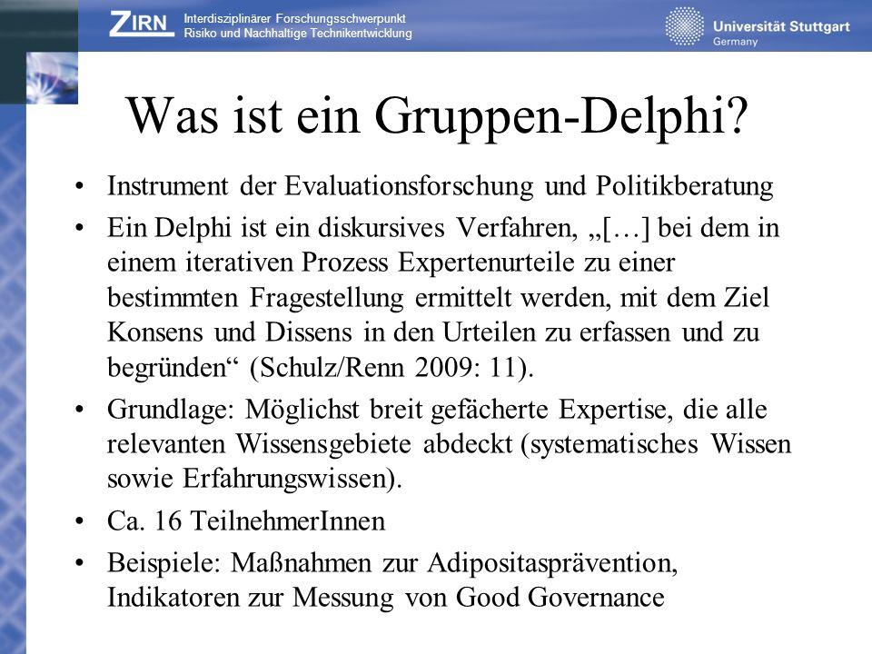 Ablauf eines Gruppen-Delphis 1.Fragebogenerstellung 2.Aufteilung der TeilnehmerInnen in Kleingruppen und Bearbeitung der Fragebögen.