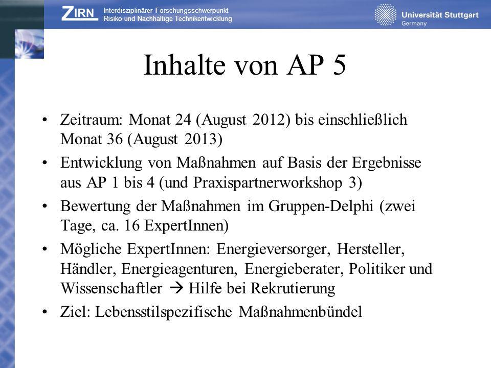 Inhalte von AP 5 Zeitraum: Monat 24 (August 2012) bis einschließlich Monat 36 (August 2013) Entwicklung von Maßnahmen auf Basis der Ergebnisse aus AP
