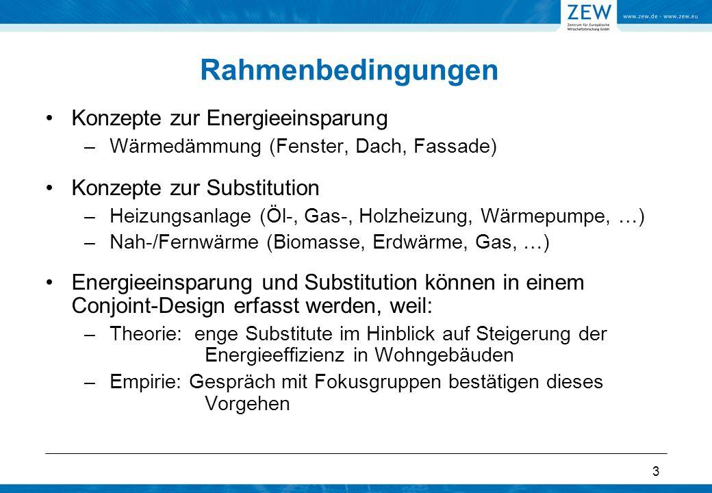 3 Konzepte zur Energieeinsparung –Wärmedämmung (Fenster, Dach, Fassade) Konzepte zur Substitution –Heizungsanlage (Öl-, Gas-, Holzheizung, Wärmepumpe,