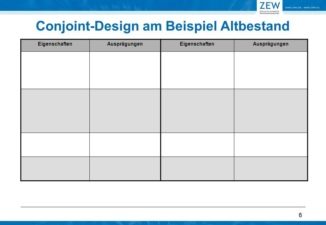 6 Conjoint-Design am Beispiel Altbestand EigenschaftenAusprägungenEigenschaftenAusprägungen
