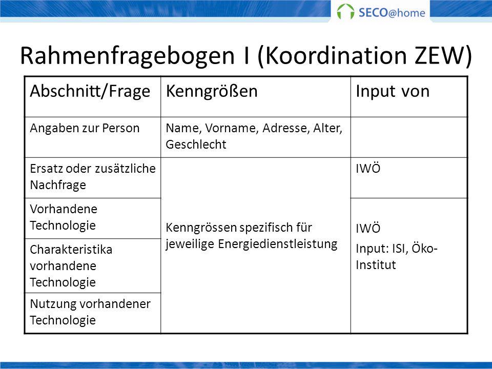 Rahmenfragebogen I (Koordination ZEW) Abschnitt/FrageKenngrößenInput von Angaben zur PersonName, Vorname, Adresse, Alter, Geschlecht Ersatz oder zusät