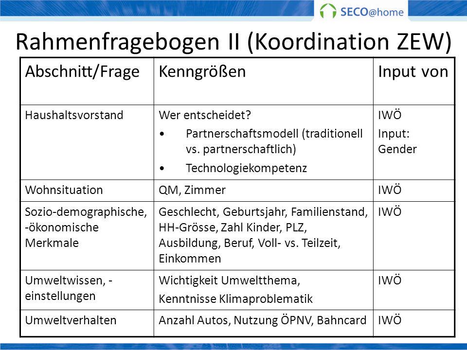 Rahmenfragebogen II (Koordination ZEW) Abschnitt/FrageKenngrößenInput von HaushaltsvorstandWer entscheidet? Partnerschaftsmodell (traditionell vs. par