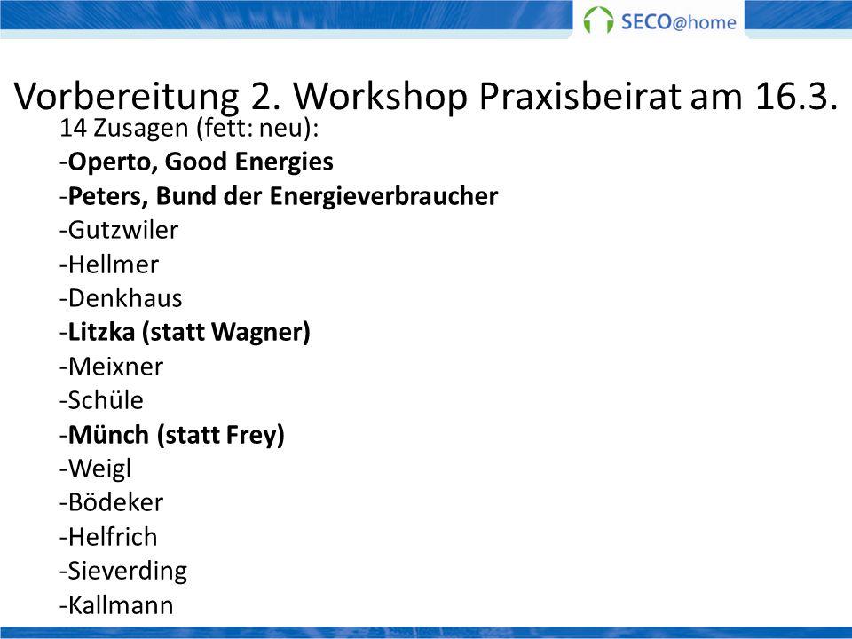 Vorbereitung 2. Workshop Praxisbeirat am 16.3. 14 Zusagen (fett: neu): -Operto, Good Energies -Peters, Bund der Energieverbraucher -Gutzwiler -Hellmer