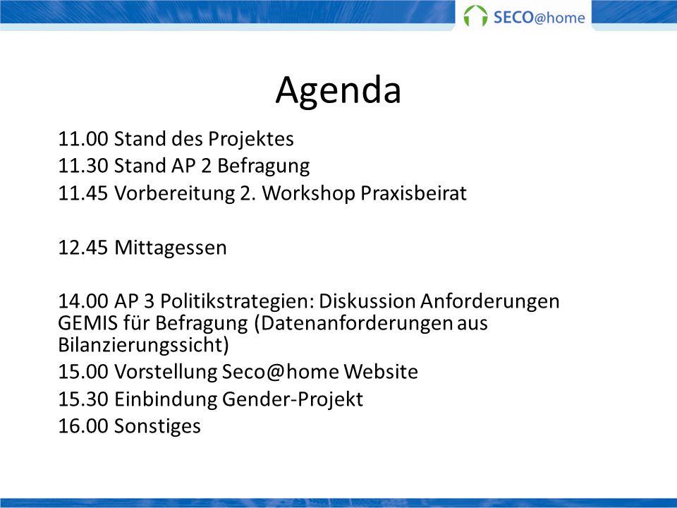 Agenda 11.00 Stand des Projektes 11.30 Stand AP 2 Befragung 11.45 Vorbereitung 2. Workshop Praxisbeirat 12.45 Mittagessen 14.00 AP 3 Politikstrategien