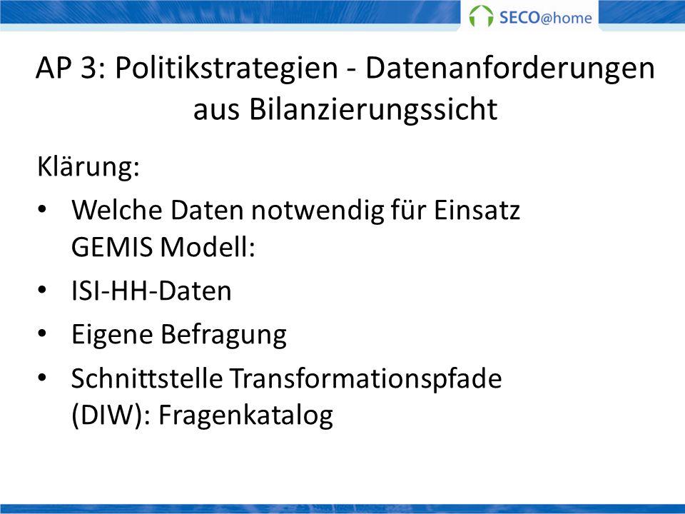 AP 3: Politikstrategien - Datenanforderungen aus Bilanzierungssicht Klärung: Welche Daten notwendig für Einsatz GEMIS Modell: ISI-HH-Daten Eigene Befr