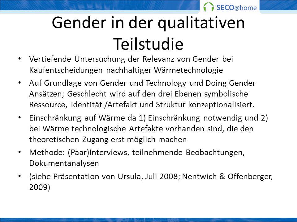 Gender in der qualitativen Teilstudie Vertiefende Untersuchung der Relevanz von Gender bei Kaufentscheidungen nachhaltiger Wärmetechnologie Auf Grundl
