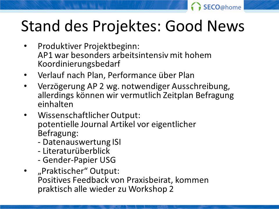 Stand des Projektes: Good News Produktiver Projektbeginn: AP1 war besonders arbeitsintensiv mit hohem Koordinierungsbedarf Verlauf nach Plan, Performa