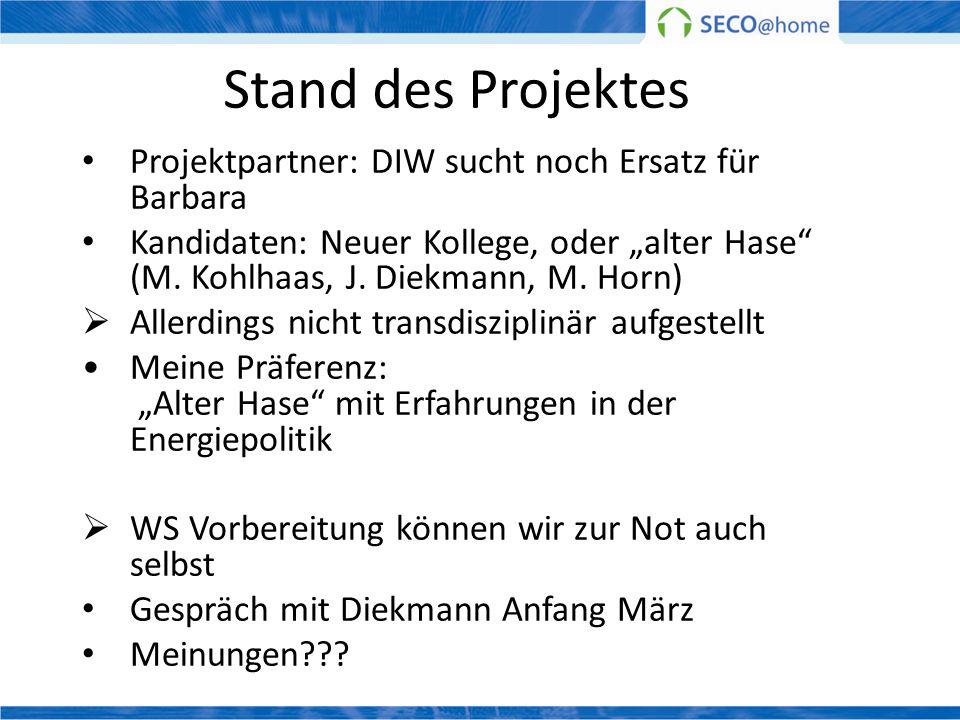 Stand des Projektes Projektpartner: DIW sucht noch Ersatz für Barbara Kandidaten: Neuer Kollege, oder alter Hase (M. Kohlhaas, J. Diekmann, M. Horn) A