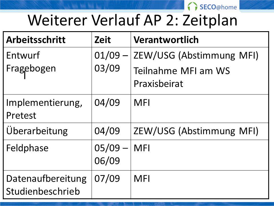 Weiterer Verlauf AP 2: Zeitplan l ArbeitsschrittZeitVerantwortlich Entwurf Fragebogen 01/09 – 03/09 ZEW/USG (Abstimmung MFI) Teilnahme MFI am WS Praxi