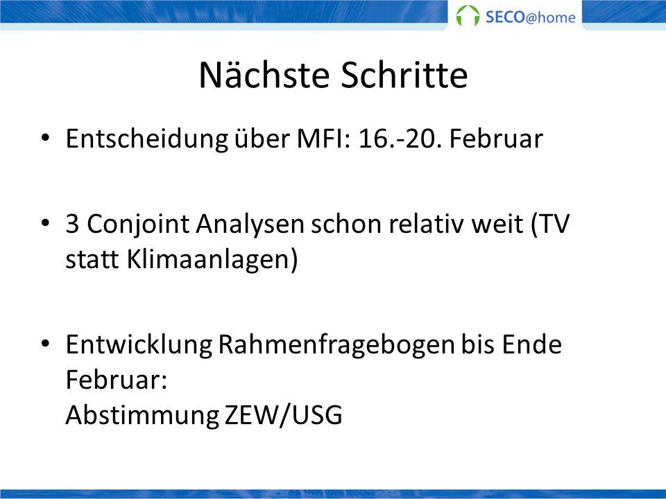 Nächste Schritte Entscheidung über MFI: 16.-20. Februar 3 Conjoint Analysen schon relativ weit (TV statt Klimaanlagen) Entwicklung Rahmenfragebogen bi