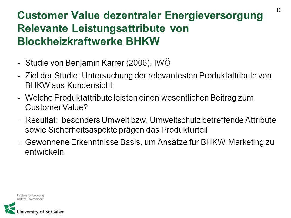 10 Customer Value dezentraler Energieversorgung Relevante Leistungsattribute von Blockheizkraftwerke BHKW -Studie von Benjamin Karrer (2006), IWÖ -Zie