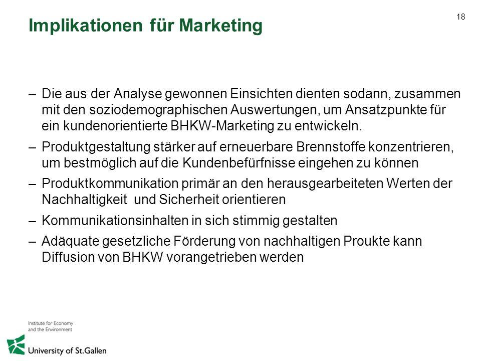 18 Implikationen für Marketing –Die aus der Analyse gewonnen Einsichten dienten sodann, zusammen mit den soziodemographischen Auswertungen, um Ansatzp
