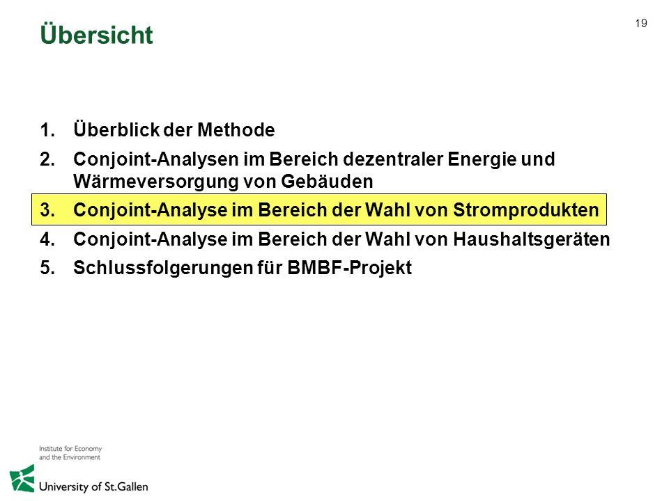 19 Übersicht 1.Überblick der Methode 2.Conjoint-Analysen im Bereich dezentraler Energie und Wärmeversorgung von Gebäuden 3.Conjoint-Analyse im Bereich